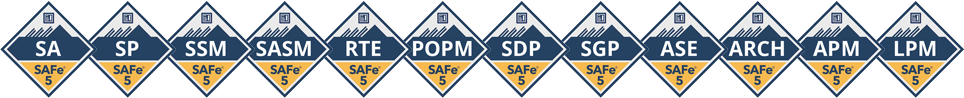 SAFe Scrum Master, Leading SAFe, SAFe Product Owner, SAFe DevOps, SAFE Software Engineer, Agile Practitioner, SAFe Courses, SAFe Agile Certification, Scaled Agile Certification